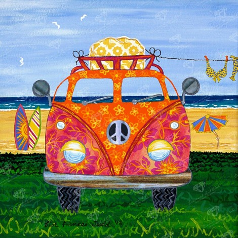Hippy Van Orange Diamond Painting Kit