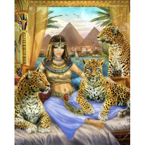 Egyptian Queen of the Leopards Diamond Painting Kit