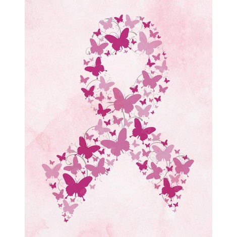 Butterfly Breast Cancer Ribbon Diamond Painting Kit