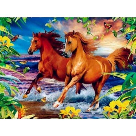 Horses White And Brown Diamond Painting Kit