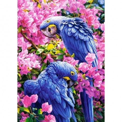 Flowers In The Two Parrots Diamond Painting Kit