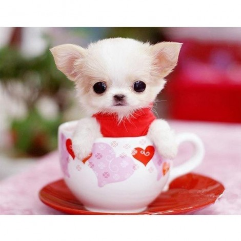 Cute Dog In The Cup Diamond Painting Kit