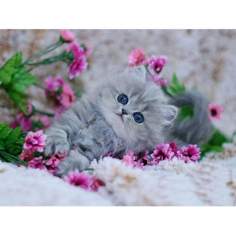 Cute Cat and pink flowers Diamond Painting Kit